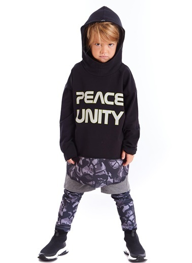 Colorinas Unity Slogan Baskılı Sweatshirt Siyah Siyah